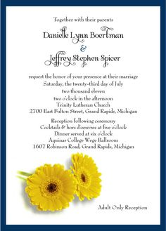 Gerbera Daisy Wedding or Party Invitation pack by WoodlarkDesigns