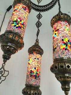 Chandelier 3 Candle Mosaic Lamps Moroccan by BeautyofTurkey