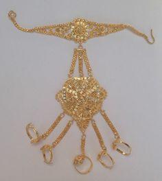 Indian Bollywood Gold Colour  Belly Dancing Panja Punja Bracelet 5 Rings P011