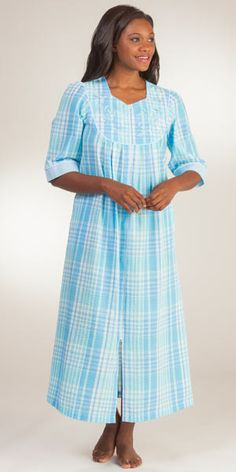 a94b2530a4 New Miss Elaine Blue Plaid Seersucker Long Robe Sleepwear Medium. Floral  embroidery details a striped zip-front style. Modified V neck and elbow  length ...