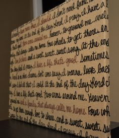 Burlap Wall Hanging Canvas Wedding Vow Decoration Wedding Song Lyrics Wall Art Black and Brown Custom Wall Decor Rustic Shabby Chic Painting on Etsy, $25.00