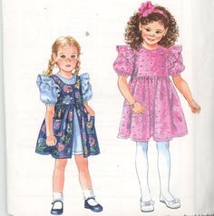 Simplicity 9308 Childs Dress and Pinafore Size 2,3,4,5,6,6x with Hair Accessorie - Children