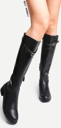 Black Faux Leather Buckle Strap Knee High Zipper Boots