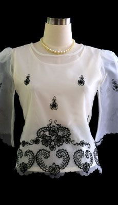 Barongsrus-Ivory/Black Kimona #5279 $42.50  The demure appeal is perfect on this sweet organza blouse. With bell sleeves and embroidered floral design give this top a feminine fit. Dress it up with a #skirt or pair it with black dress pants for a #style. #philippinefashion #nationalcustome #fashion #customes