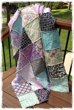 Rag Quilt Throw Purple Black Pink Aqua