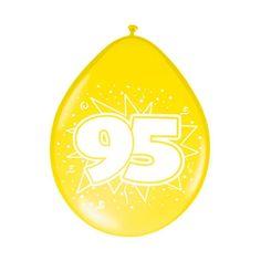 Gekleurde ballonnen 95 jaar voor een 95ste verjaardag. Deze gekleurde ballonnen hebben een opdruk met het cijfer 95 en zijn verpakt per 8 stuks. Formaat: 30 cm.