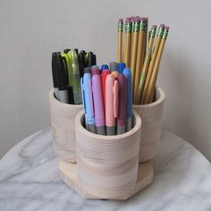 Amazon.com: 3 Cup Desktop Rotating Colored Pencil Holder - Holds 75+ Pencils Pens Markers
