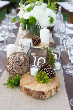 Custom Cut Gathering Table Chargers Made to Order in Bundles of 5 ~ { Get a Quote Prior to Purchase for multiple bundles or larger than – Wedding Centerpieces Rustic Wedding Centerpieces, Wedding Table Centerpieces, Pinecone Wedding Decorations, Table Wedding, Centerpiece Ideas, Masculine Centerpieces, Moss Wedding Decor, Wood Slice Centerpiece, Wedding Reception
