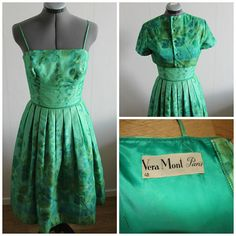Vintage 50s Dress Women, Rare 50s dress, Green floral gown, 1950s floral dress, Floral, Cotton, Silk, Small,