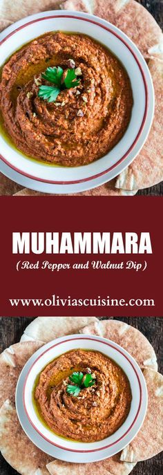 Muhammara (Red Pepper and Walnut Dip) | www.oliviascuisine.com | A middle eastern spread made with roasted red peppers, toasted walnuts, scallions, spices, breadcrumbs, olive oil and pomegranate molasses. It's a delicious sweet and spicy dip and a great alternative to hummus! (In partnership with Mezzetta.)