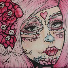 Day of the Dead Dia de los muertos Rockabilly Pin Up girl pink hair Lowbrow Tattoo art PRINT  pink   sugar skulls. Etsy.