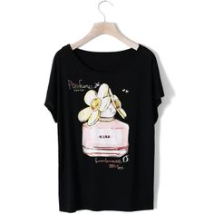 Perfume Print T-shirt with Pearl Decor in Black$32 (80 LTL) found on Polyvore
