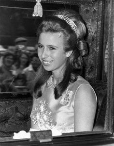 The Princess Anne (later The Princess Royal) wearing the Greek Key Tiara.