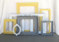 Yellow, Grey White Ornate VINTAGE Filigree Open Frames Set of 8 - Upcycled Frames Modern Bedroom Decor
