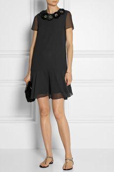 NEEDLE & THREAD Corsage Peplum embellished gauze dress