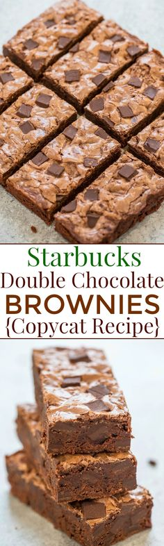 Starbucks Double Chocolate Brownies {Copycat Recipe} Rich fudgy chewy easy no mixer recipe that tastes just like Starbucks Brownie Recipes, Cookie Recipes, Dessert Recipes, Starbucks Brownie Recipe, Starbucks Food, Double Chocolate Brownies, Chocolate Desserts, Chocolate Truffles, Cocoa Chocolate