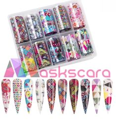 Retro Themed Transfer Foil Case Each foil design is approximately 1 meter in length. For optimal results - use in conjunction with Maskscara's Gel-iT Foil Gel! Dark Nail Polish, Dark Nails, Uv Nails, Foil Nails, Foil Nail Designs, Transfer Foil, Box Patterns, Nail Supply, Nail Stickers