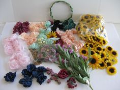 MIXED BIG LOT Colorful Crafting Supplies Silk Sunflower Heads Roses Floral Craft #Unbranded