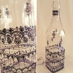 Clear glass bottle/ decoration piece by SketchedNEmbellished