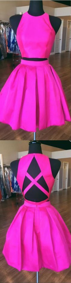 2017 short homecoming dress, two piece hot pink homecoming dress, short prom dress homecoming dress, homecoming dress with criss cross