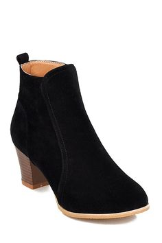 Stitching Suede Chunky Heel Short Boots