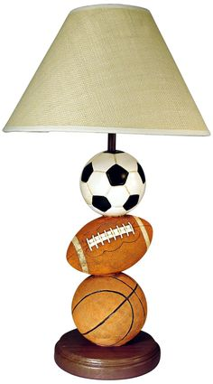 "3-Ball Sports Themed 22.25"" High Table Lamp With Shade -------Follow BoyRooms: https://www.pinterest.com/lyndanna/boy-rooms/"