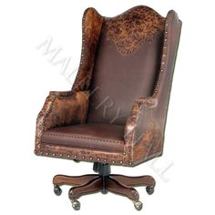 custommade office chair with comfortable leather and textured leather accents wooden base with - Leather Office Chairs