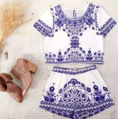 romper china blue antique print two-piece two-piece shorts top crop tops high waist matching paisley