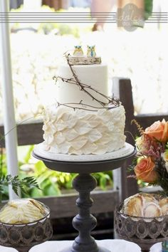 Ivory Leaf Wedding cake with Grapevine, birch and ceramic owl cake toppers By xxkristaxx on CakeCentral.com