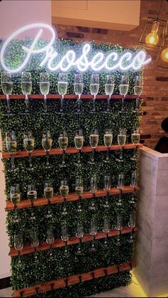 Champagne Wall - Amazing Neon Champagne/Prosecco Boxwood Wall - Amazing Boxwood Prosecco/Champagne wall , amazing statement piece for your next event. Wedding Wall, Our Wedding, Dream Wedding, Party Planning, Wedding Planning, Event Planning Design, Event Decor, Event Ideas, Prosecco