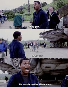 John Boyega when he saw Millennium Falcon.