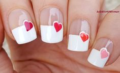 Wide #Frenchmanicure With #Heart #Design - For more #easy #nails please visit: https://www.youtube.com/user/LifeWorldWomen