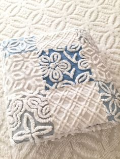 SAMPLE Vintage Chenille Baby Quilt 42 x 42 Blues Gray by TWFaith
