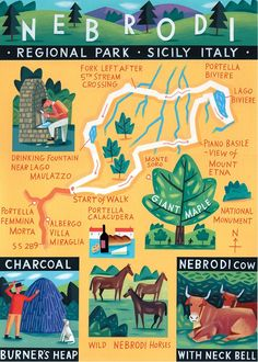 Nebrodi Sicily map- 'Walk of the Month' The Daily Telegraph Acrylic on paper johh Montgomery
