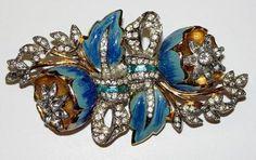 Vintage Coro Duette Broach Teal Blue Enamel Rhinestones | eBay