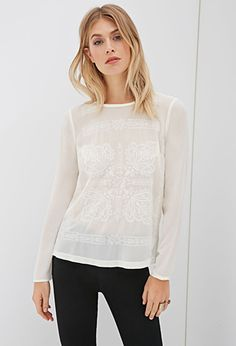 Ornate Embroidered Chiffon Top | FOREVER21 - 2000117079