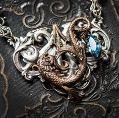 Vintage Pisces Mix Metal Necklace by MyVintageVanity on Etsy, $45.00