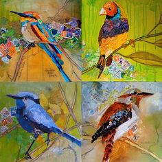 Four Bird Series 24x24, collage on four wood panels by Anndella Bond from Australia