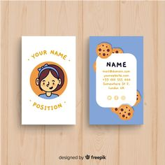 Hand drawn kawaii character business card template Free Vector by WORLOT for freepik Cute Business Cards, Free Business Card Templates, Business Card Design, Presentation Cards, Stationery Design, Brochure Design, Name Card Design, Japanese Graphic Design, Calling Cards