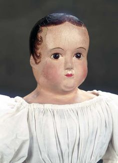 View Catalog Item - Theriault's Antique Doll Auctions Leather Head American doll attributed to Darrow