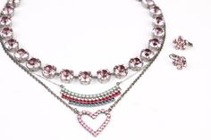La Vie En Rose Manhattan Choker paired with Hearts & Stripes Striped Necklace, Celebrations Light Rose/Gold Shadow Daisy Earrings and Sabika Pink Party Necklace