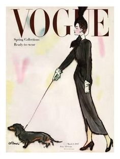 Vogue Cover - March 1917 - Dachshund Stroll Giclee Print by René R. Bouché at Art.com