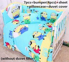Discount! 6/7pcs Cotton Baby Bedding Set Cartoon Crib Bedding Set ,120*60/120*70cm