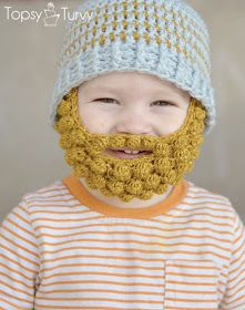free crochet pattern beard beanie. Hilarious! Would never actually be cold enough here to wear it, but it's adorable.