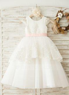 A-Line/Princess Scoop Neck Tea-length Sash Appliques Bow(s) Satin Tulle Short Sleeves Flower Girl Dress Flower Girl Dress