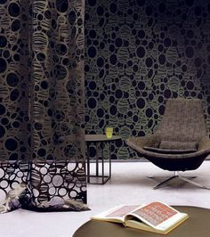 Dark and textured Modern Wallpaper, Fabric Wallpaper, Wall Paint Treatments, Vinyl Blinds, Brick In The Wall, Interior Decorating, Interior Design, Sliding Glass Door, Window Coverings
