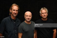 Musicians Mike Rutherford, Phil Collins and Tony Banks pose before talking about their band Genesis during a press conference before the dress rehearsal of the 20 city North American leg of their 'Turn It On Again' tour at the Air Canada Centre on September 5, 2007 in Toronto, Canada.
