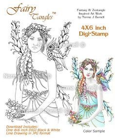 may fairy lady fairy tangles 4x6 digi stamp by norma j burnell fairies owls for coloring sheetsadult