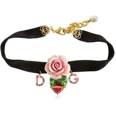 Dolce & Gabbana Women Rose Velvet Chocker (1.979.590 COP) ❤ liked on Polyvore featuring jewelry, necklaces, multicolor, multi colored necklace, rose jewelry, charm necklaces, multi coloured necklace and dolce gabbana necklace