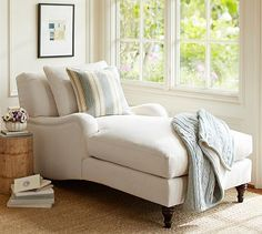 Carlisle Upholstered Chaise #potterybarn    I NEED two of these!! Love. Also, I love that throw.